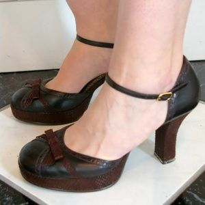 brown rampage heels 50s style 3in heel dance party